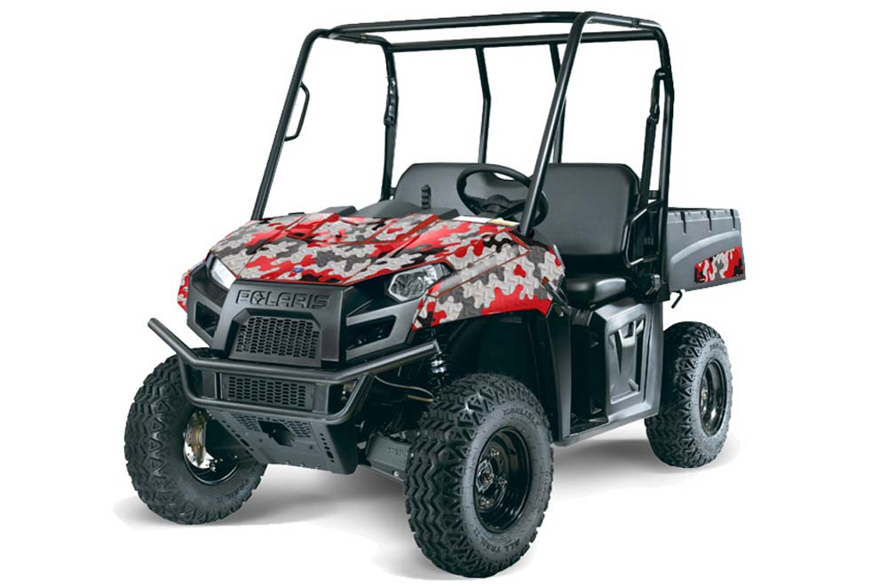 Polaris Ranger EV Electric Graphics: Camoplate - Red Side by Side Graphic Decal Wrap Kit