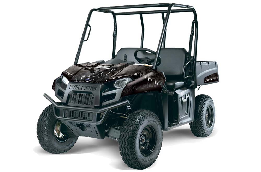 Polaris Ranger EV Electric Graphics: Reaper - Black Side by Side Graphic Decal Wrap Kit
