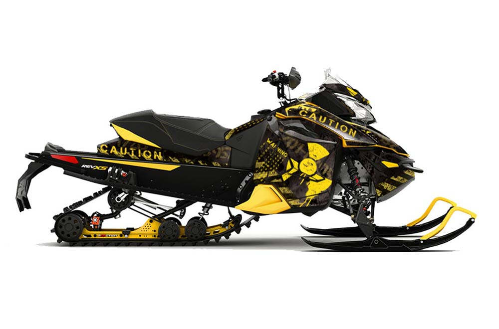 Ski Doo Rev XS Sled Graphics: Meltdown - Black Snowmobile Graphic Decal Wrap Kit