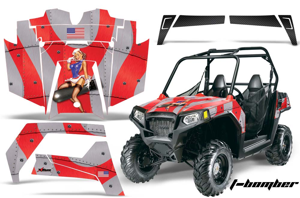 Polaris RZR 570 UTV Graphics All Years T Bomber - Red Side by Side Graphic  Decal Wrap Kit