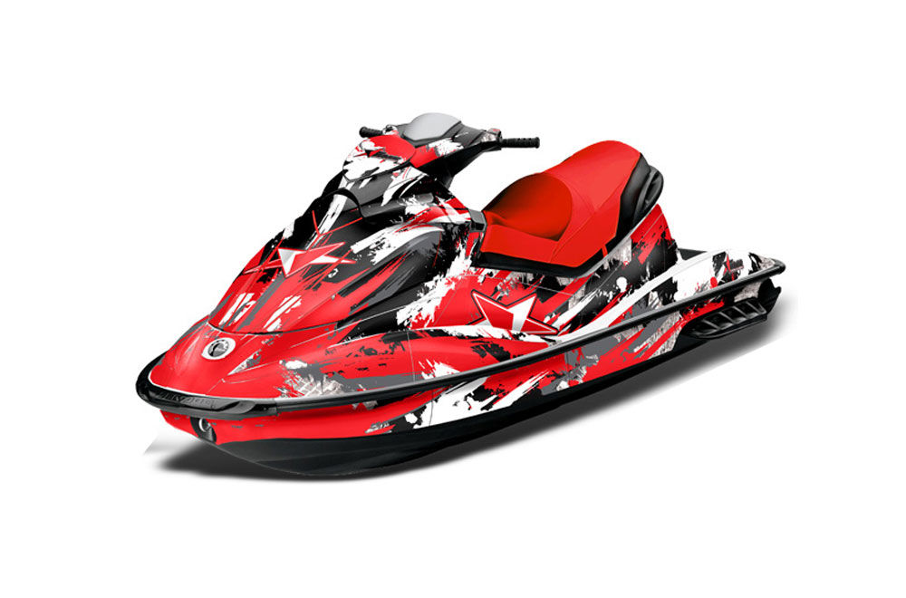 Sea Doo GTI Sitdown Graphics: Street Star - Red Jet Ski PWC Graphic Decal Wrap Kit