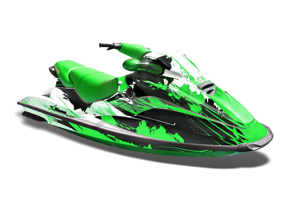Sea Doo Bombardier GTX Siege Avant Graphics: Carbon X - Green Jet Ski PWC Graphic Decal Wrap Kit