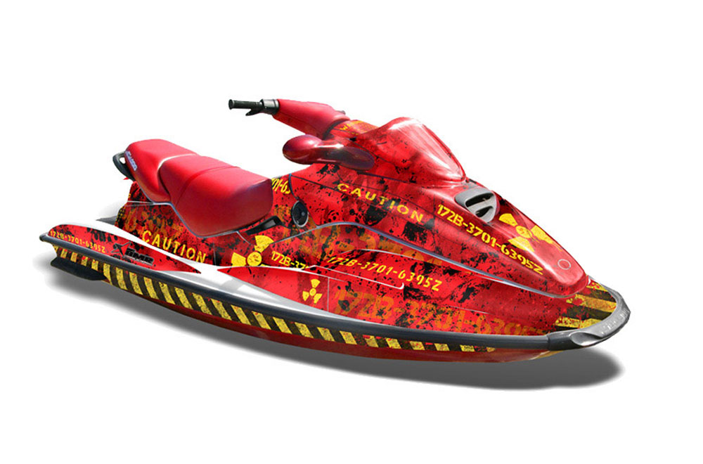 Sea Doo Bombardier GTX Siege Avant Graphics: Meltdown - Red Jet Ski PWC Graphic Decal Wrap Kit