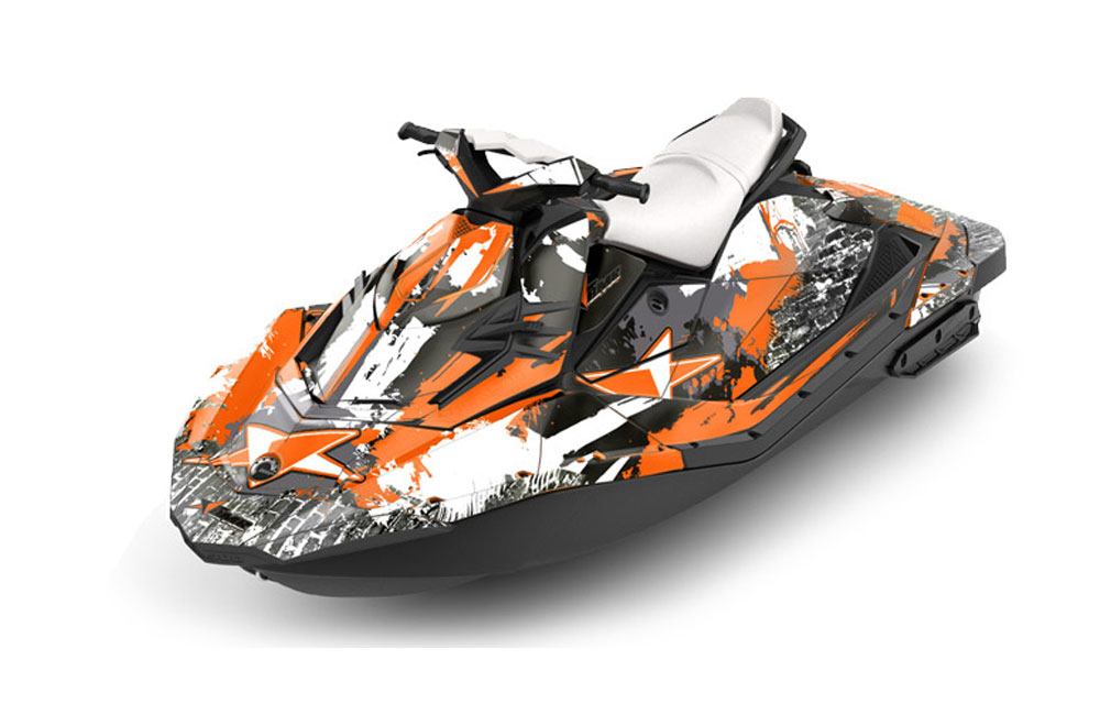 Sea Doo Bombardier Spark (2 UP) Graphics: Street Star - Orange Jet Ski PWC Graphic Decal Wrap Kit