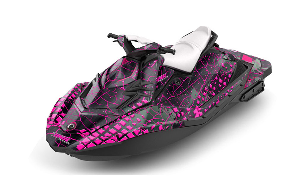 Sea Doo Bombardier Spark (2 UP) Graphics: Swift - Pink Jet Ski PWC Graphic Decal Wrap Kit