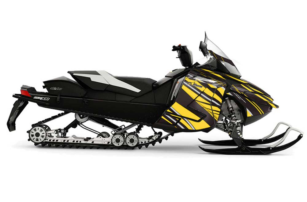Ski Doo Rev XR Sled Graphics: In Line - Yellow Snowmobile Graphic Decal Wrap Kit
