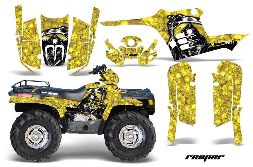 Polaris Sportsman 400/500/600/700 ATV Graphics: Reaper - Yellow Quad Graphic Decal Wrap Kit