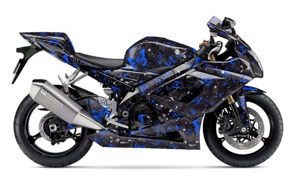 Suzuki GSXR 1000 Street Bike Graphics: Butterflies - Blue Sport Bike Graphic Decal Wrap Kit