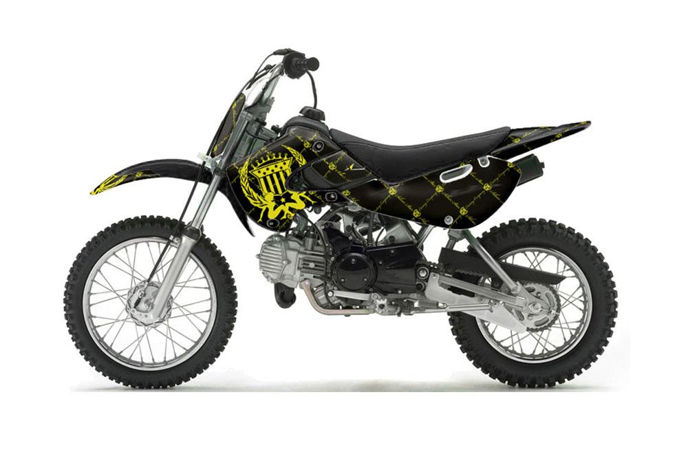 Suzuki RM 65 Dirt Bike Graphics: Silver Star Reloaded - Yellow Black