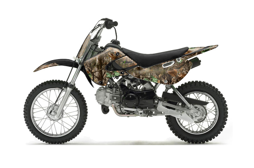Suzuki DRZ 110 Dirt Bike Graphics: Woodland Camo - MX Graphic Wrap Kit (All Years)