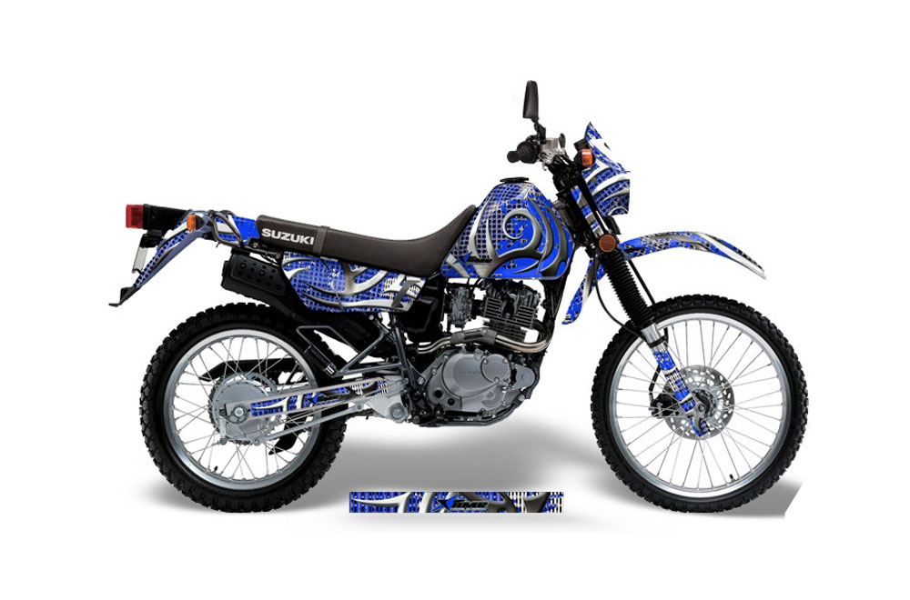 Suzuki DRZ 200 SE Dirt Bike Graphics: Deaden - Blue MX Graphic Wrap Kit (1996-2009)