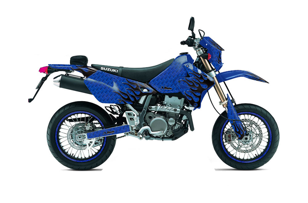 Suzuki DRZ 400 S Metal Tank Dirt Bike Graphics: Diamond Flames - Blue MX Graphic Wrap Kit (2000-2015)