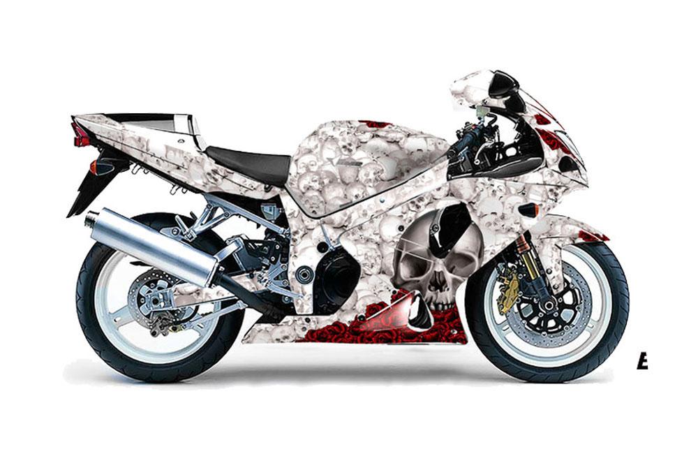 Suzuki GSXR 1000 Street Bike Graphics: Bone Collector - White Sport Bike  Graphic Decal Wrap Kit