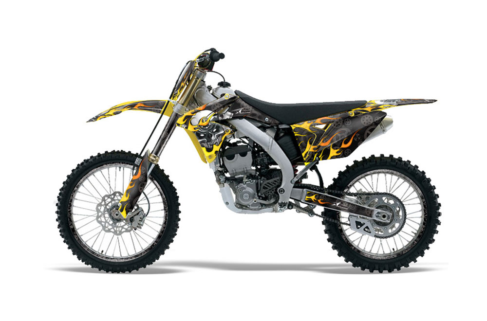 Suzuki RMZ 250 Dirt Bike Graphics (2010-2016) Motorhead - Black MX Graphic  Wrap Kit