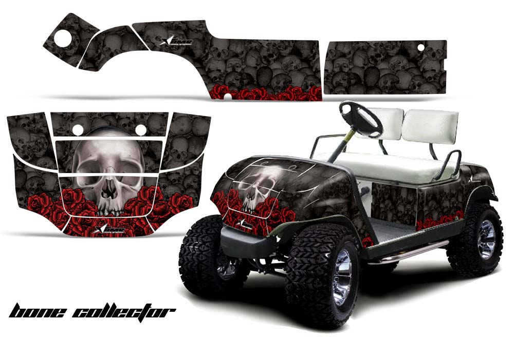 Yamaha Golf Cart Graphics:  Bone Collector - Black Golf Cart Graphic Decal Kit