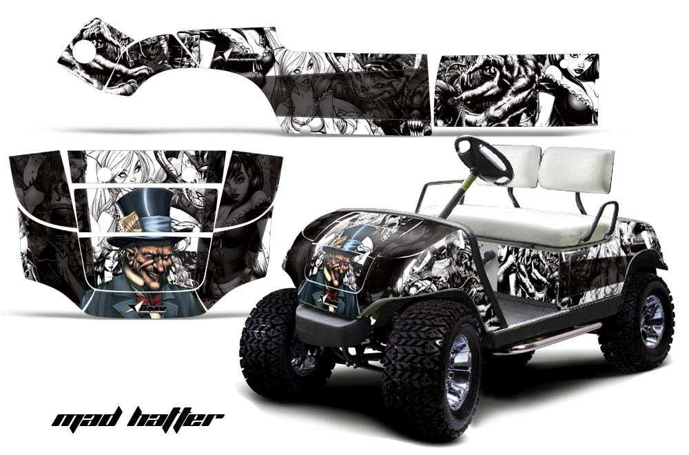 Yamaha Golf Cart Graphics:  Mad Hatter - White Golf Cart Graphic Decal Kit