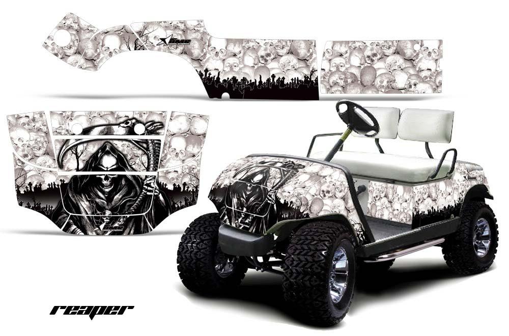 Yamaha Golf Cart Graphics:  Reaper - White Golf Cart Graphic Decal Kit