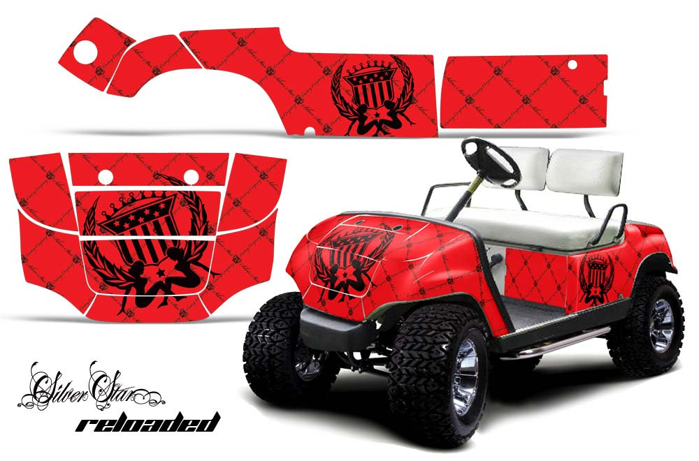 Yamaha Golf Cart Graphics:  Silver Star - Red Golf Cart Graphic Decal Kit