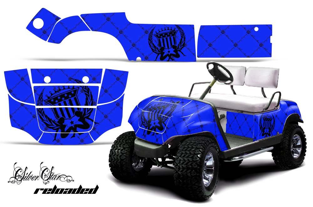 Yamaha Golf Cart Graphics:  Silver Star - Blue Golf Cart Graphic Decal Kit