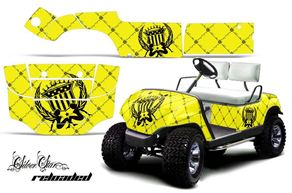 Yamaha Golf Cart Graphics:  Silver Star - Yellow Golf Cart Graphic Decal Kit