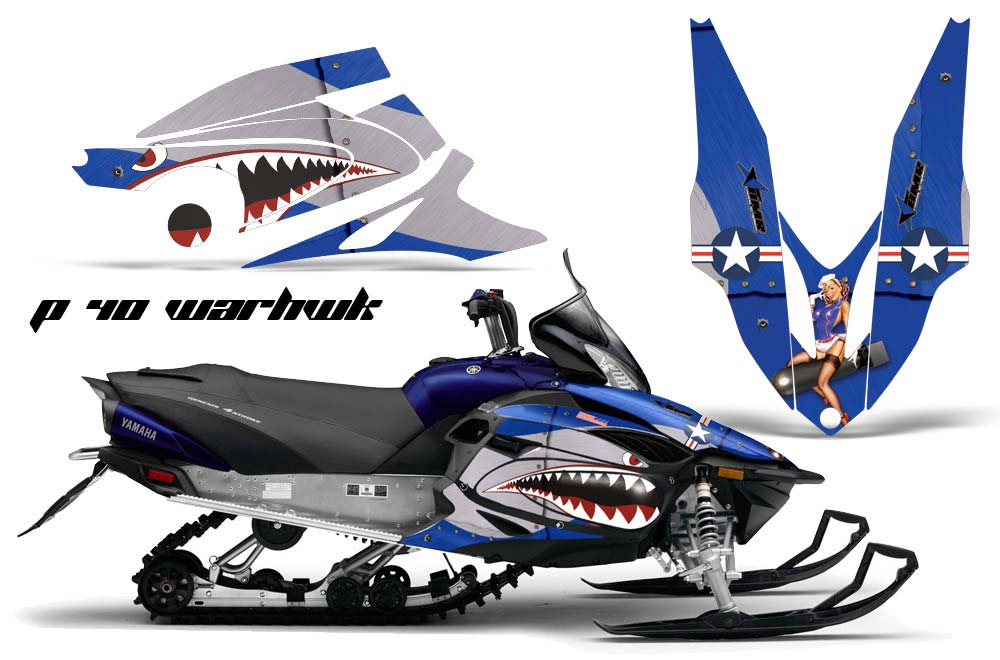 Yamaha Vector RS Sled Graphics: P40 Warhawk - Blue Snowmobile Graphic Decal Wrap Kit