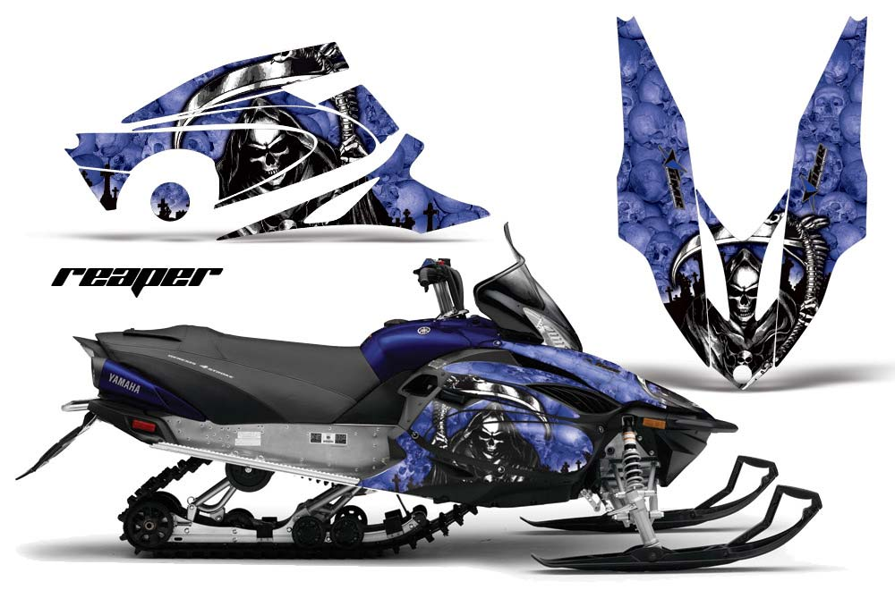 Yamaha Vector RS Sled Graphics: Reaper - Blue Snowmobile Graphic Decal Wrap Kit