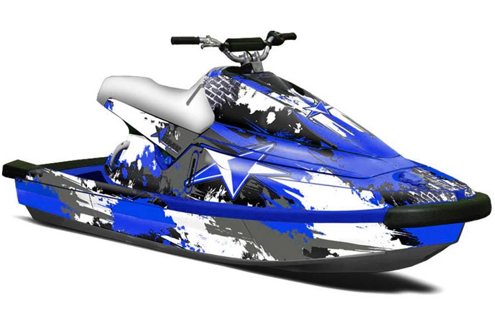 Yamaha Wave Blaster Graphics (1993-1996) Street Star - Blue Jet Ski PWC  Graphic Decal Wrap Kit