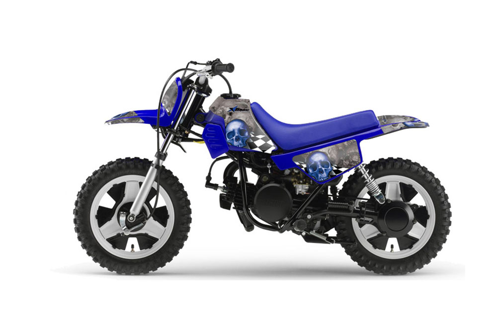 Yamaha PW Dirt Bike Graphics Checkered Skull Blue MX Graphic - Decal graphics for dirt bikes