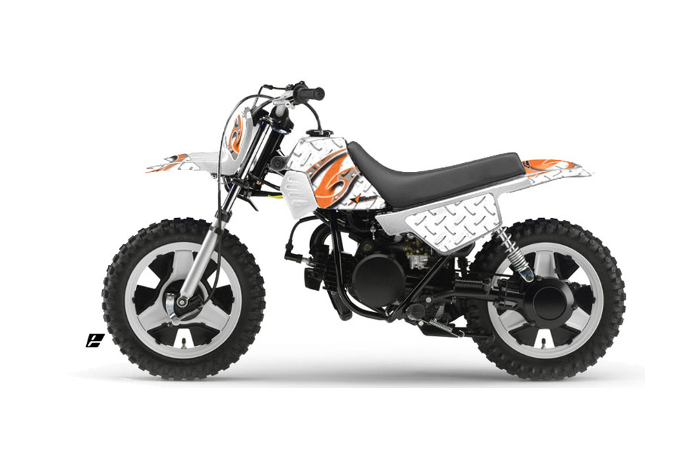 Yamaha PW80 Dirt Bike Graphics: Tribal Flame - White MX Graphic Decal Wrap Kit (1996-2006)