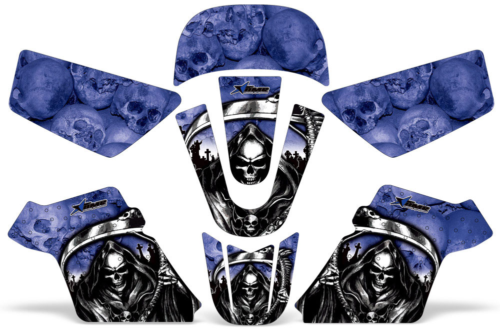 Yamaha PW50 Dirt Bike Graphics: Reaper - Blue MX Graphic Decal Wrap Kit (1990-2016)