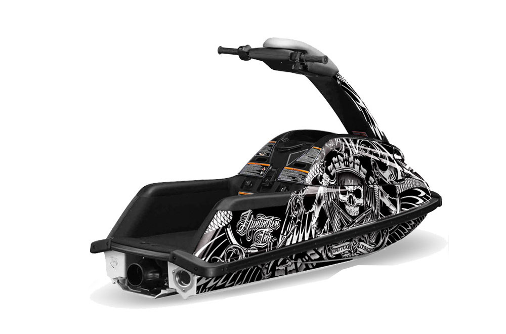 Yamaha Superjet Freestyle Graphics: Huntington Ink Skulls and Hammers - White Jet Ski PWC Graphic Decal Wrap Kit
