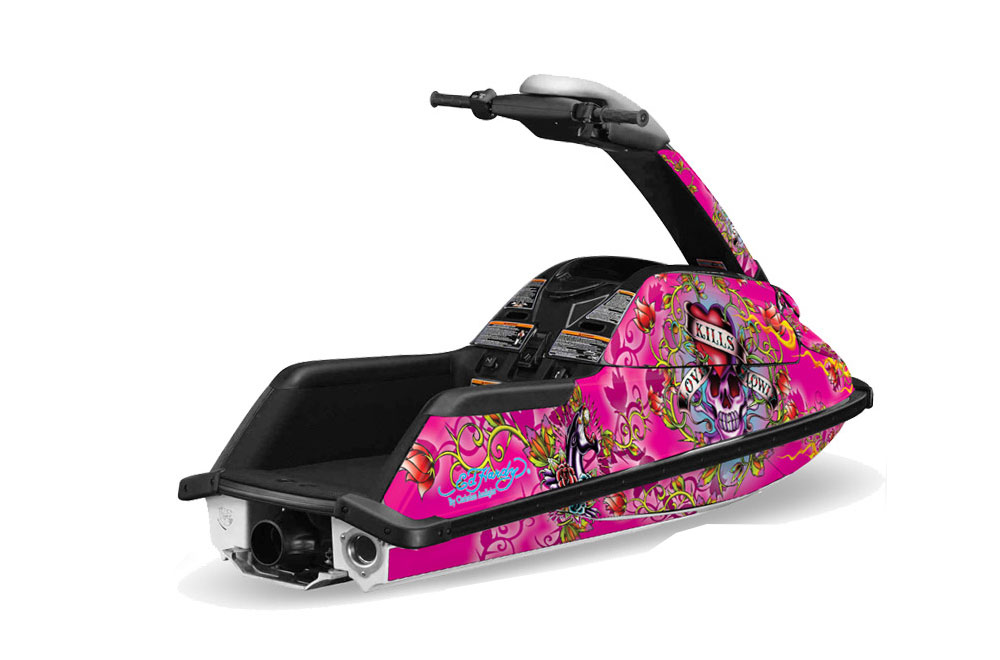 Yamaha Superjet Freestyle Graphics: Ed Hardy Love Kills - Pink Jet Ski PWC Graphic Decal Wrap Kit