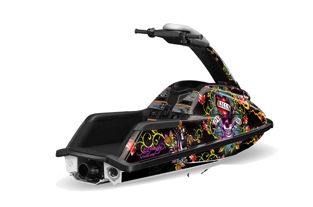 Yamaha Superjet Freestyle Graphics: Ed Hardy Love Kills - Black Jet Ski PWC Graphic Decal Wrap Kit