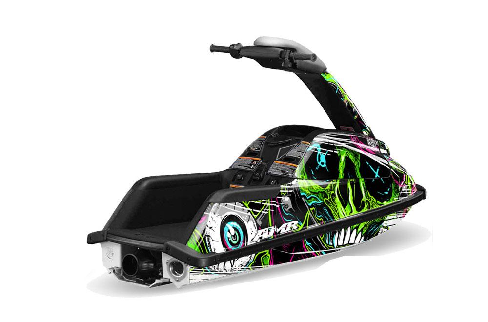 Yamaha Superjet Freestyle Graphics: Frenzy - Green Jet Ski PWC Graphic Decal Wrap Kit