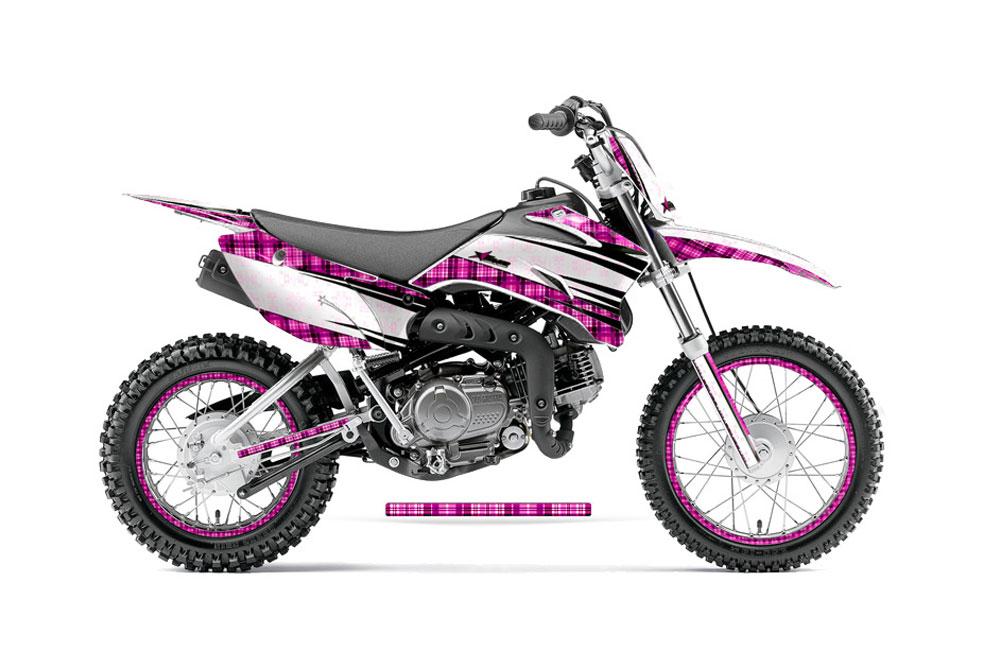 Yamaha TTR110 Dirt Bike Graphics: Plaid - Pink MX Graphic Decal Wrap Kit (2011-2016)