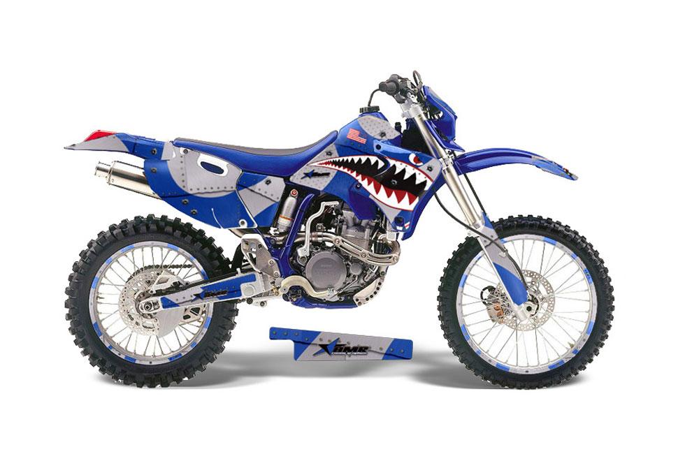 Yamaha WR250 Dirt Bike Graphics: P40 Warhawk - Blue MX Graphic Decal Wrap Kit (1998-2002)