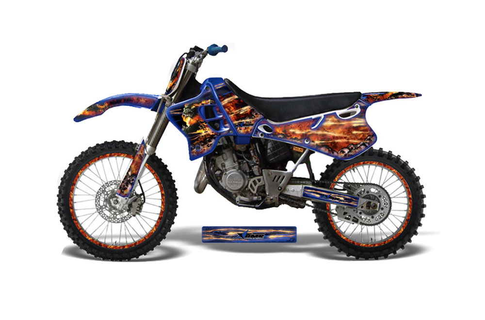Yamaha YZ125 2 Stroke Dirt Bike Graphics: Meltdown - Yellow MX Graphic Decal Wrap Kit (1993-1995)