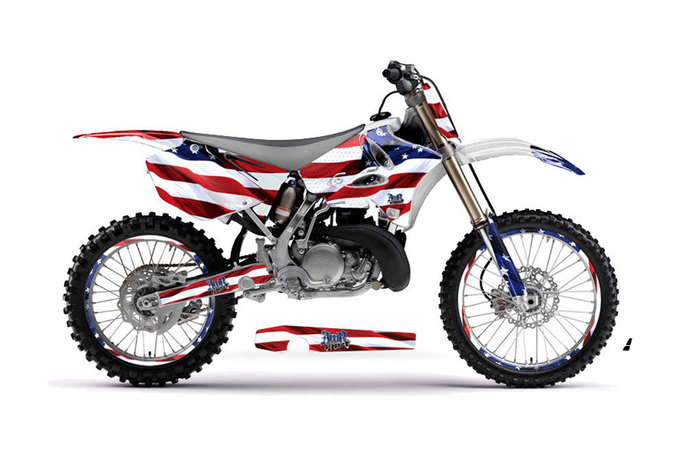 Yamaha YZ250 2 Stroke Dirt Bike Graphics: Stars and Stripes - MX Graphic Decal Wrap Kit (2002-2014)