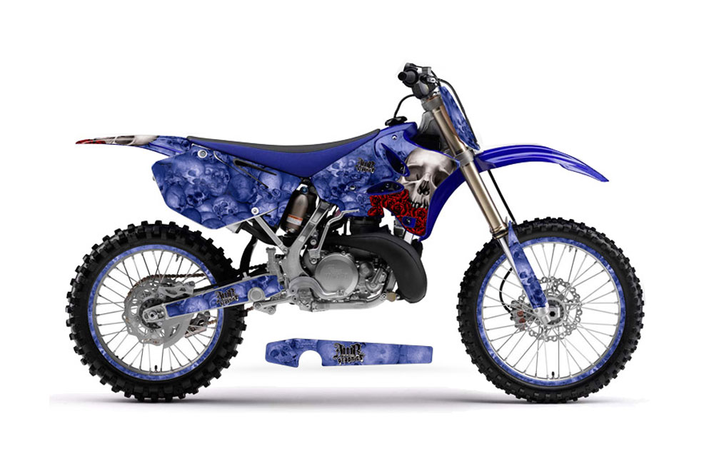 Yamaha YZ250 2 Stroke Dirt Bike Graphics: Bone Collector - Blue MX Graphic Decal Wrap Kit (2002-2014)