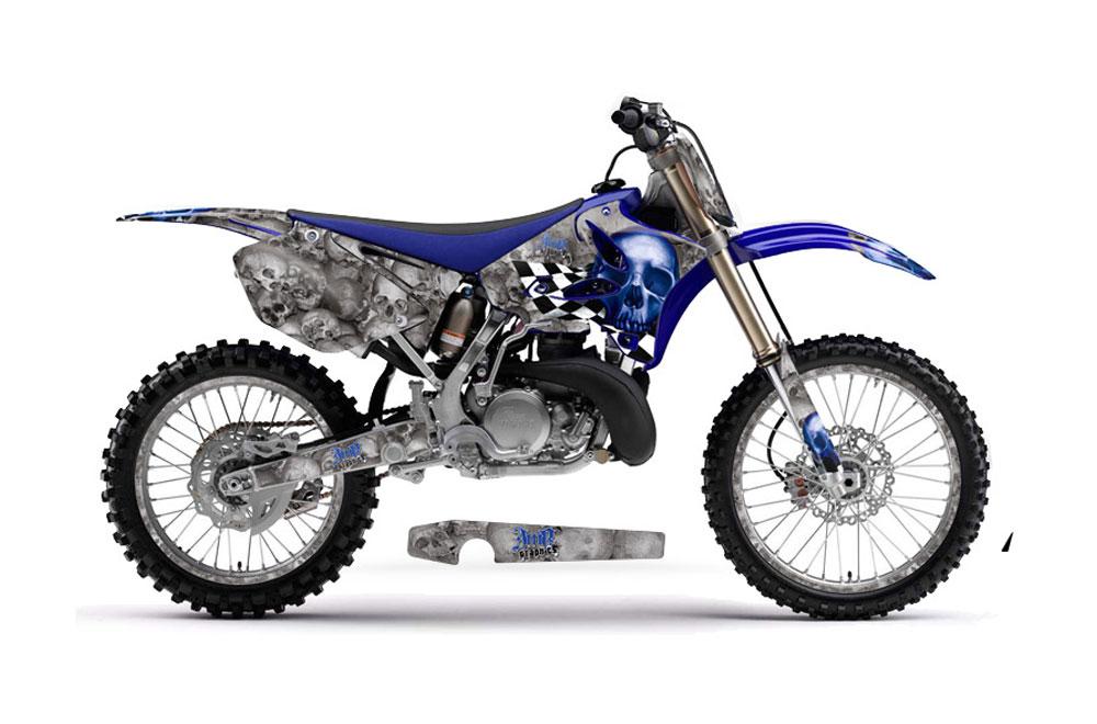 Yamaha YZ250 2 Stroke Dirt Bike Graphics: Checkered Skull - Blue MX Graphic Decal Wrap Kit (2002-2014)
