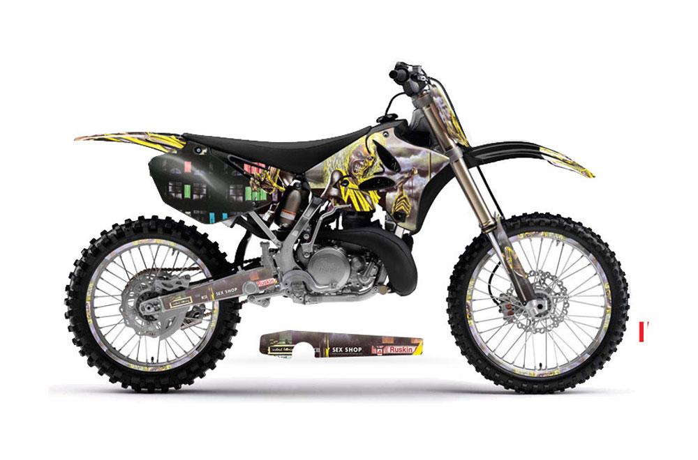 Yamaha YZ250 2 Stroke Dirt Bike Graphics: Iron Miaden Killers - Yellow MX Graphic Decal Wrap Kit (2002-2014)