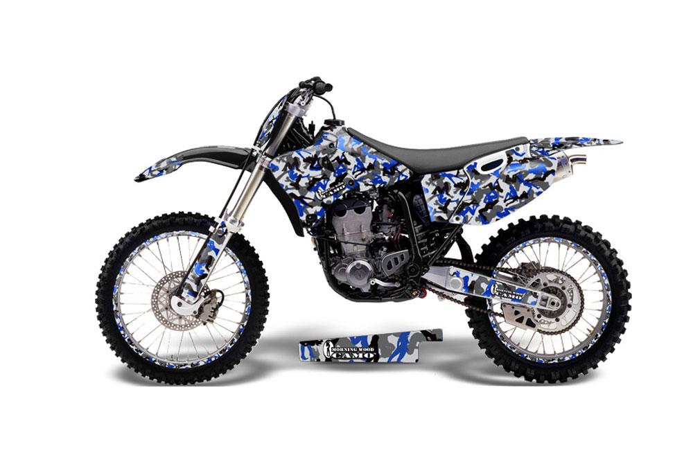 Yamaha YZ250 4 Stroke Dirt Bike Graphics: Urban Camo - Blue MX Graphic Decal Wrap Kit (1989-2002)