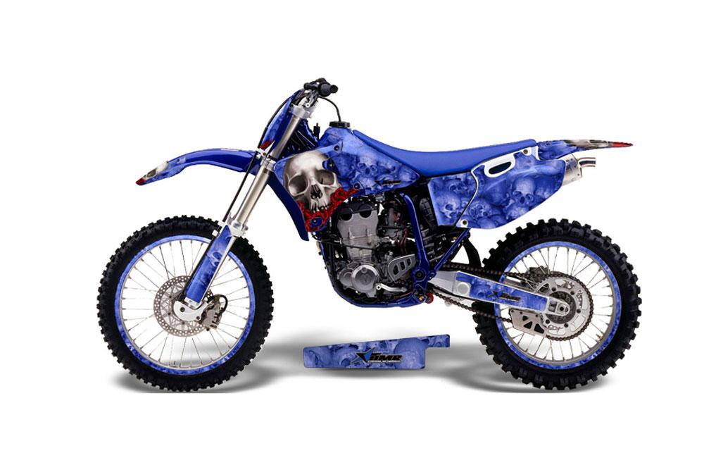 Yamaha YZ426 F 4 Stroke Dirt Bike Graphics: Diamond Flames - Blue MX Graphic Decal Wrap Kit (1989-2002)