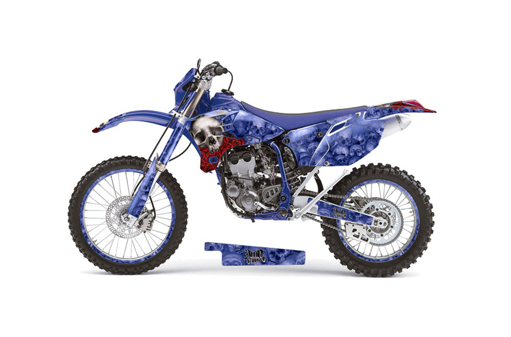 Yamaha YZ450 F 4 Stroke Dirt Bike Graphics: Bone Collector - Blue MX Graphic Decal Wrap Kit (2003-2005)