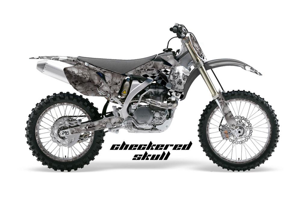 Yamaha YZ450 F 4 Stroke Dirt Bike GraphicsCheckered Skull - Chrome MX Graphic Decal Wrap Kit (2006-2009)