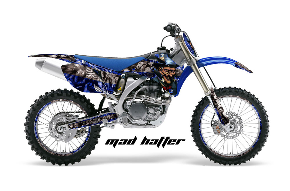 Yamaha YZ250 F 4 Stroke Dirt Bike GraphicsMad Hatter - Blue MX Graphic Decal Wrap Kit (2006-2009)
