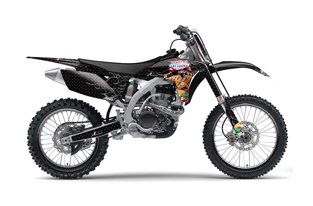 Yamaha YZ250 F 4 Stroke Dirt Bike Graphics: Vegas Baller - Blue MX Graphic Decal Wrap Kit (2010-2013)