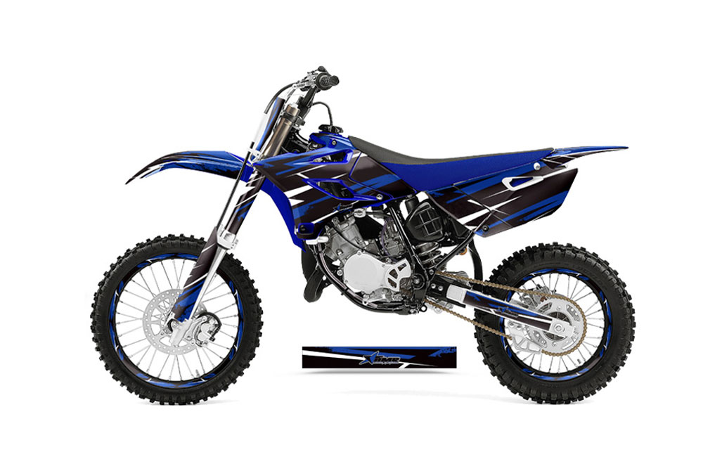 Yamaha YZ85 Dirt Bike Graphics: Attack - Blue MX Graphic Decal Wrap Kit (2015-2017)