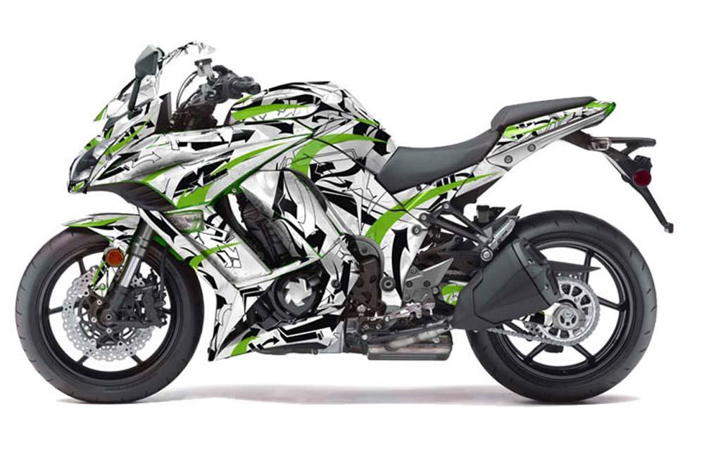Kawasaki ZX1000 Ninja Street Bike Graphics: Expo - Green Sport Bike Graphic Decal Kit